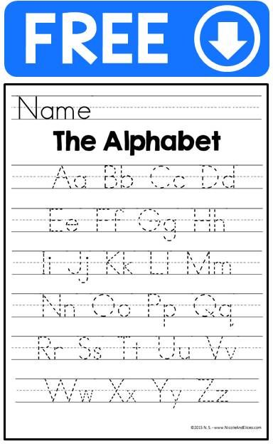 FREE alphabet handwriting practice sheets for beginner writers in many versions: printed, manuscript, solid lined, traceable dots, with directional arrows, without arrows, etc.