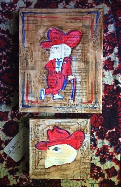 small square Ole Miss Col Reb Rebel face painting on Dixie song on Etsy, $55.00
