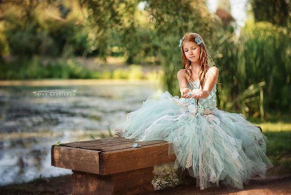 Aqua Blumenmädchen Kleid, Kleid Tüll | Mädchen Kleider | Festzug Kleider | Kleinkind-Kleider oder älter | Mädchen-Abendkleider für Hochzeiten