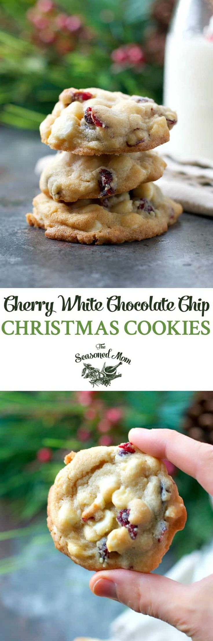 Cherry White Chocolate Chip Cookies by the Seasoned Mom | The Best Ever Christmas Cookies | Dozens and dozens of delicious Christmas Cookie Recipe ideas!