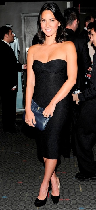 Who needs a date with a dress like this - Olivia Munn in ASOS Strapless Dress with Twist Front
