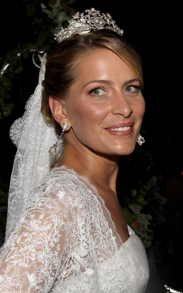 Princess Tatiana of Greece wearing the Antique Corsage Tiara on her wedding day, 2010