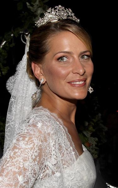 Princess Tatiana of Greece wearing the Antique Corsage Tiara on her wedding day, 2010