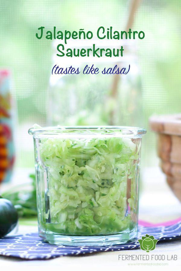 Jalapeño Cilantro Sauerkraut recipe is bursting with flavor. It's rich in probiotics, amazing for digestion and tastes like green salsa.