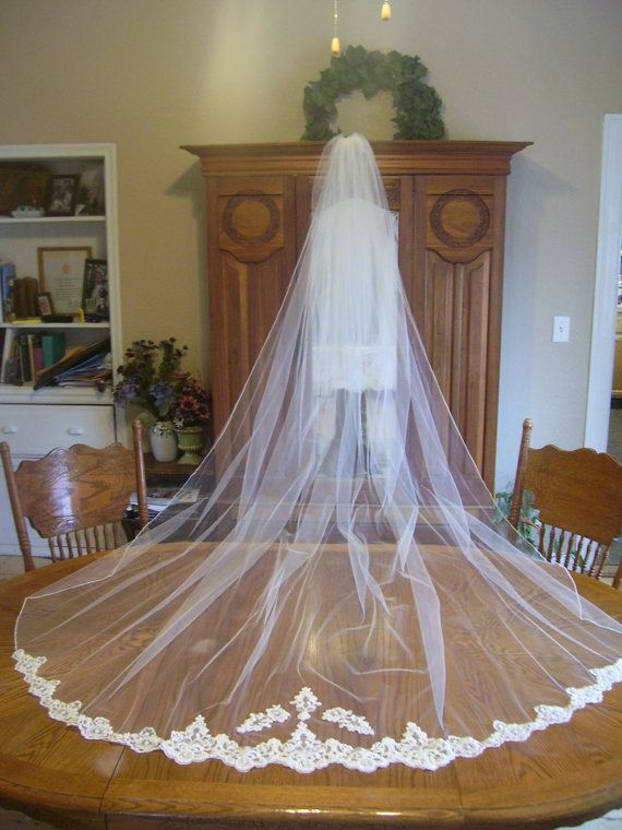 Ivory Cathedral Drop Veil Beaded Alencon Lace Bottom Trim Reserved For Thien Nga