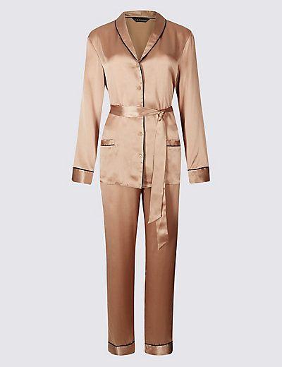 Pure Silk Tie Front Long Sleeve Pyjamas