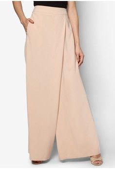 Wrap Palazzo Pants from Zalia in beige_1