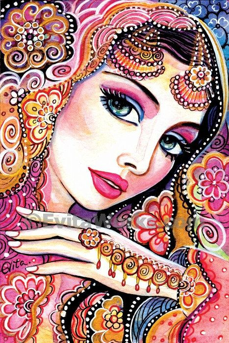 beautiful Indian woman painting Indian decor by EvitaWorks on Etsy