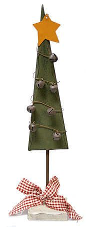 "11-1/2"" Primitive Wood Christmas Tree w/ Rustic Jingle Bells - Christmas and Holiday - Primitive Decor"