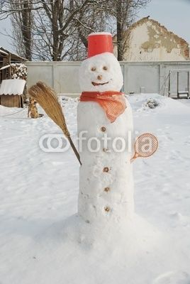 Christmas holidays - rustic snow man in my garden