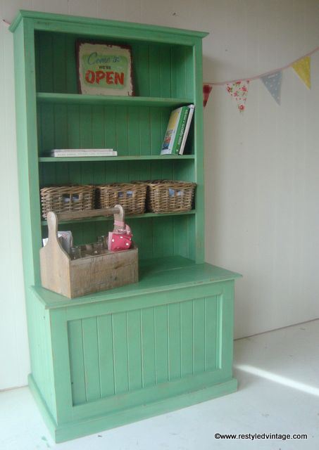 A Green Bookcase with Toy Chest finished in a mix of Antibes Green & Duck Egg Blue Chalk Paint® decorative paint by Annie Sloan | By Restyled Vintage