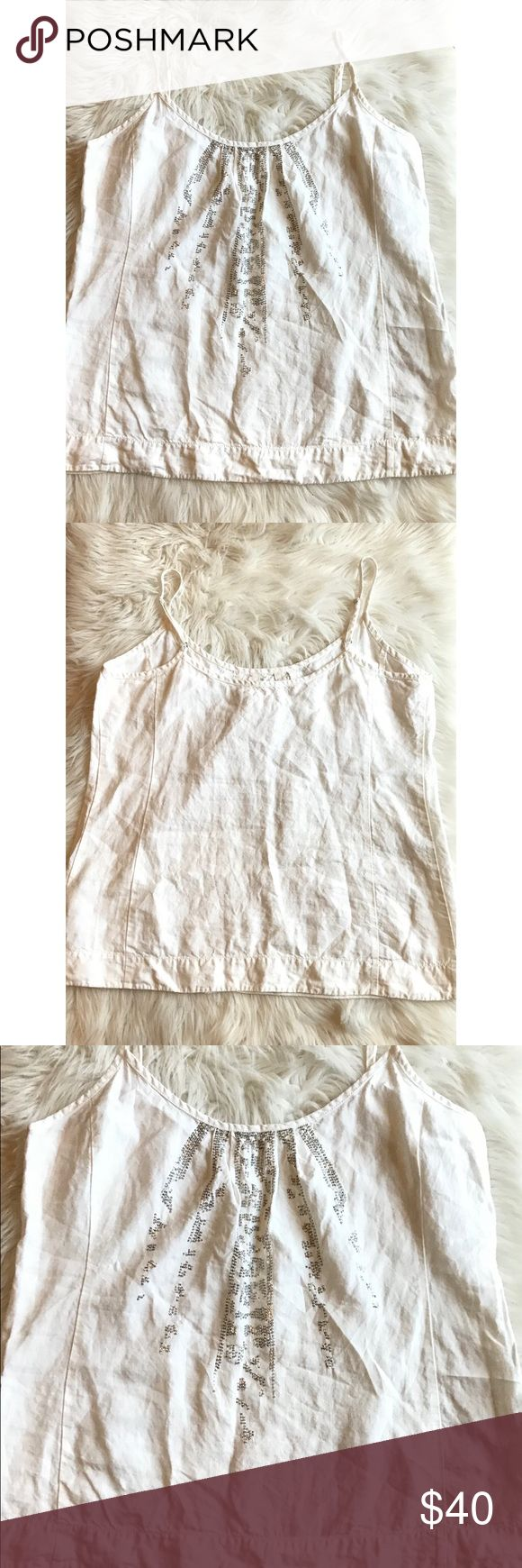 "Eileen Fisher Women's Size Large White Beaded Tank Eileen Fisher Women's Size Large White Dressy Tank With Silver Beaded Details. Size Large. 100% Organic Linen. New Without Tags.   Armpit To Armpit 21""  Waist 43""  Shoulder To Hem 27"" Eileen Fisher Tops Tank Tops"
