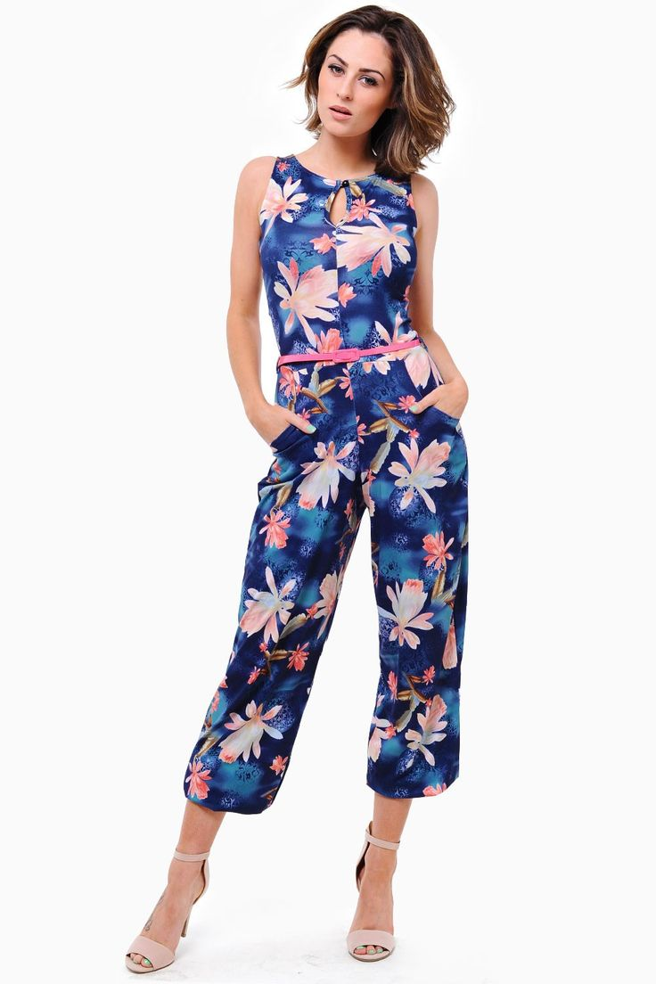 Showcase an elegant classy unique look, this figure fitted beauty is no exception belted with a contrast coloured belt for that extra pop of special. This tropical jumpsuit is very glamorous and a must have show stopping party piece, Also the perfect one piece for any vacations ahead!  - Tropical Botanic Print - Contrast Belt - Keyhole at Neckline