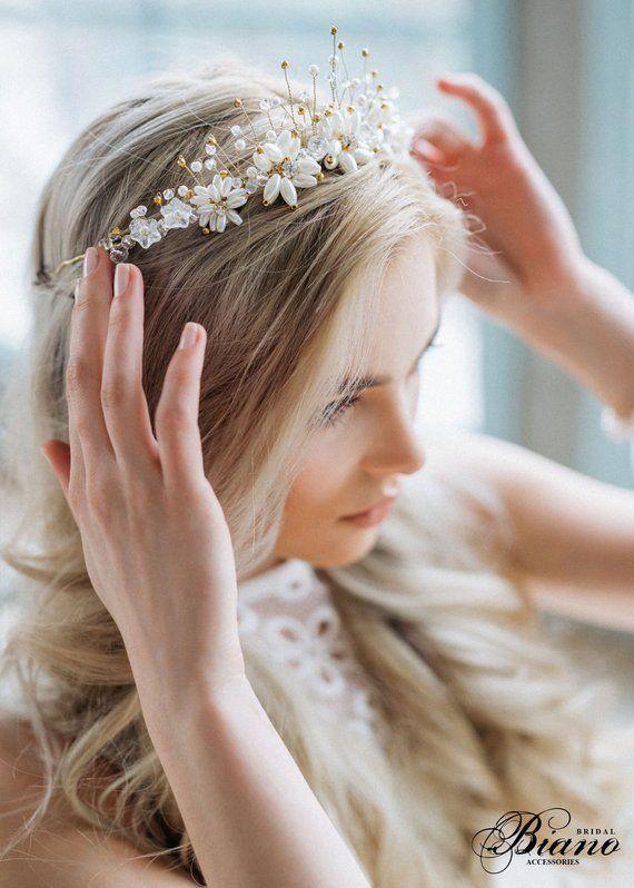 Bridal Pearl Crown Wedding Diadem Bohemian Hairpiece Crystal Bridal Tiara Wedding Pearl Headband Pearl Headband Wedding Tiara Elysia In 2020 Crystal Bridal Tiaras Headpiece Wedding Hair Pieces
