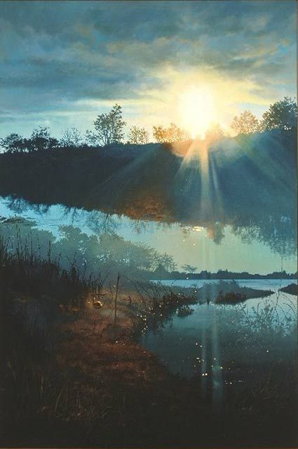 Georgica Pond At Sunset Double Exposure Series originally painted by John Hornak.