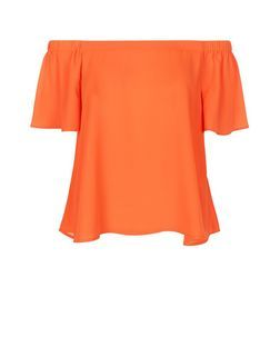 Orange Bardot Neck Top | New Look