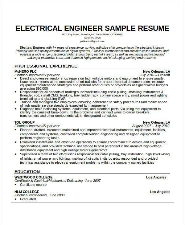 Electrical Engineer Resume Engineering Resume Templates Free Resume Template Word Cv Template Word