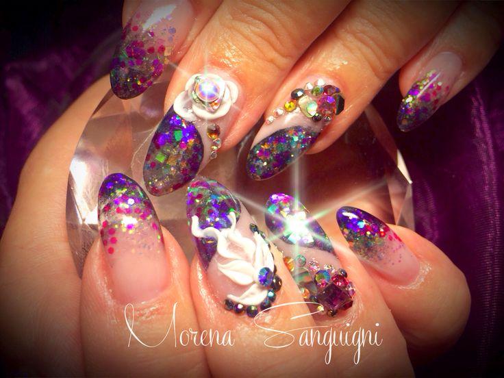 Nails mermaid petrol acrylic 3d crystals