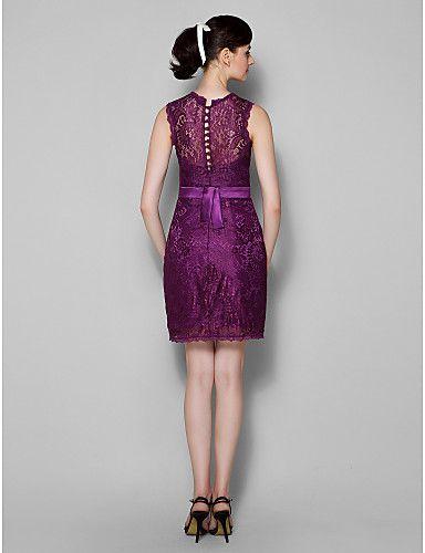 homecoming knielange kanten bruidsmeisje jurk - druiven schede / column juweel – EUR € 89.99