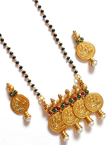 05849bf46c Amazon.com: Imitation Gold Plated Traditional Coin Mangalsutra with Earring  / AZMNICM039-GLD: Jewelry
