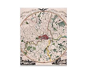 Mappa di Londra in carta fotografica di E. Bourne 1798