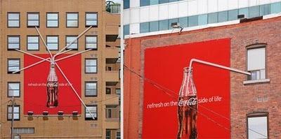 Creative coca cola adv in bulding