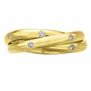 "Gypsy flush set diamond interlocking ""rolling ring"" in yellow gold, by Memoire ®"