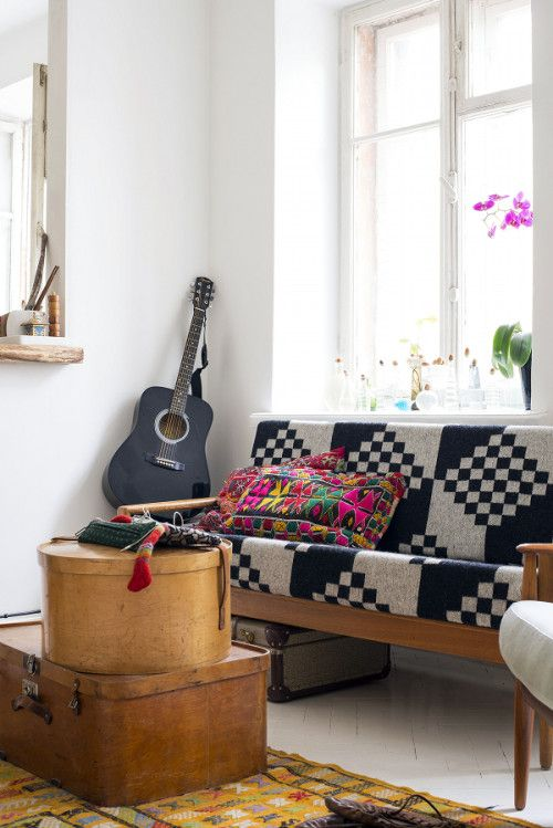 An Estonian Home Filled with Colorful Textures Couch is so gorgeous!!