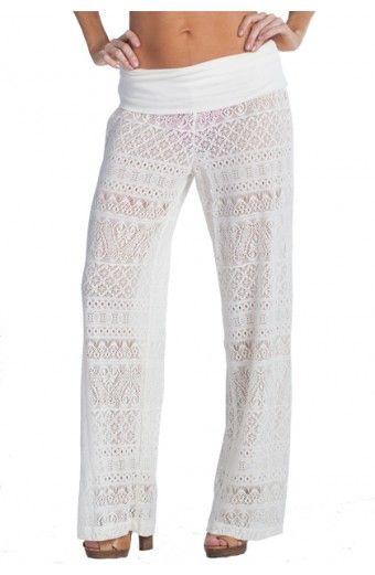 "Dotti ""Crochet Club"" Pant in Ivory #dotti #aquabeachwear #coverup #swimwear #swim2014 #dotti2014 #designer #springbreak #resort #resortwear #crochet #pants"