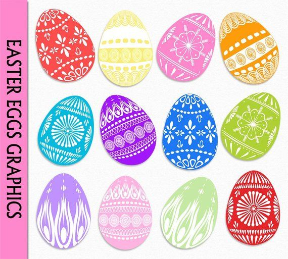 Easter Egg Clip Art Graphic Colorful Easter Eggs Clipart Etsy In 2021 Easter Colors Easter Eggs Vintage Easter Cards