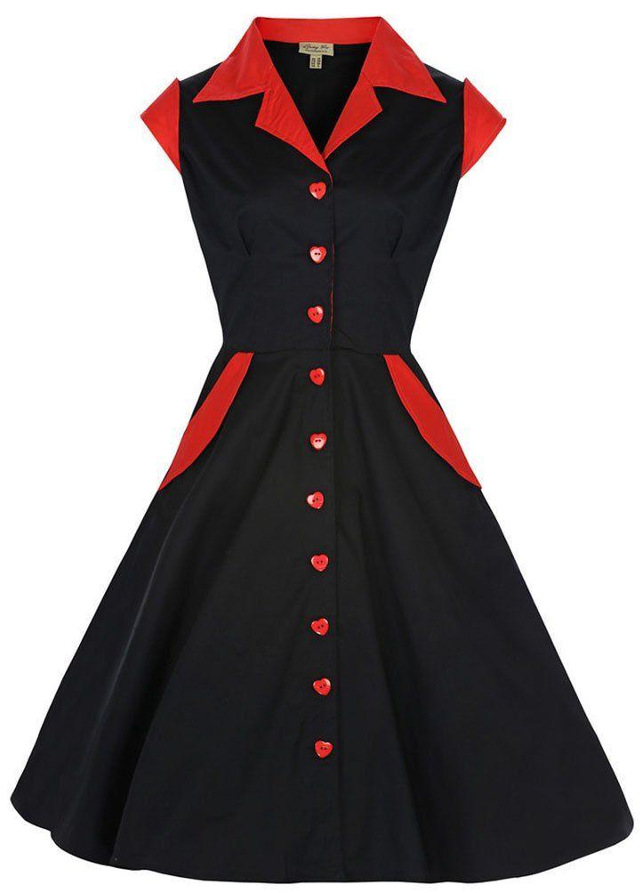 Lindy Bop 'Jeanette' Vintage 1950's Rockabilly Shirt Dress (M, Black)