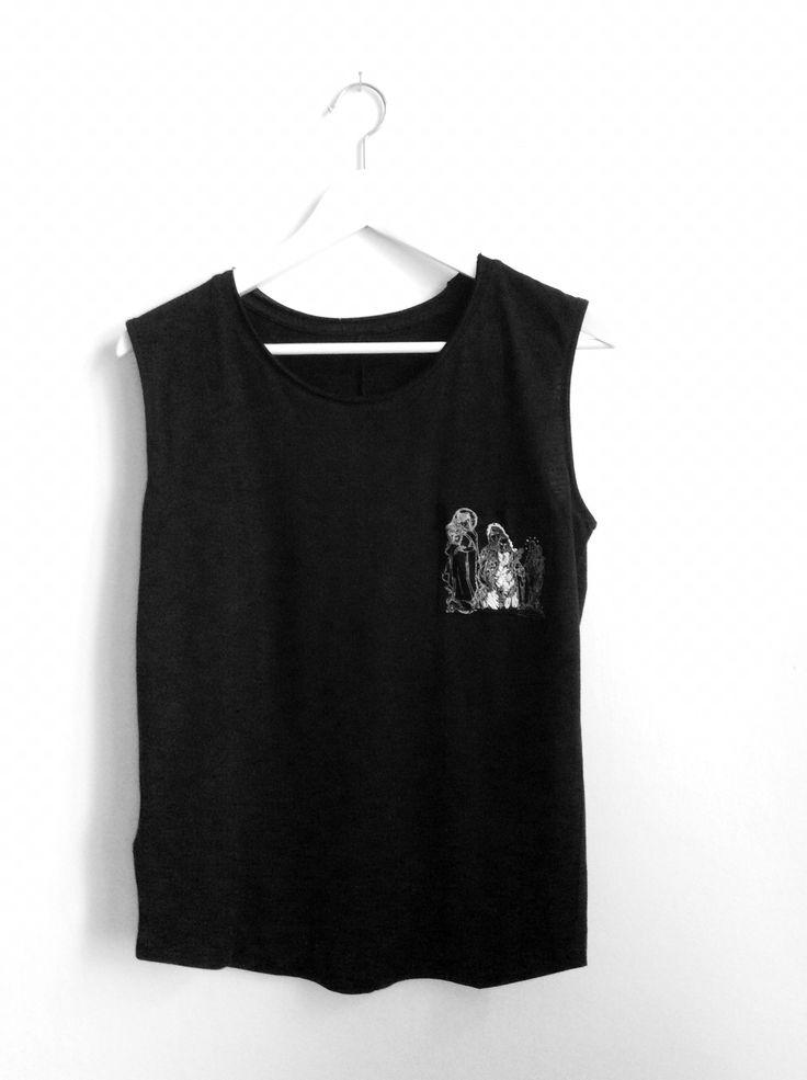 T-shirt My angels. Linocut print, embroidery