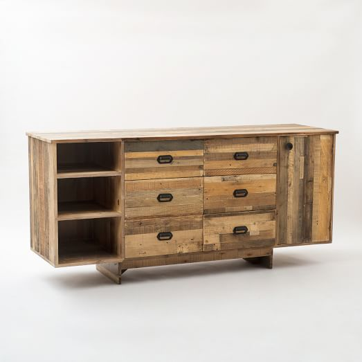 Emmerson™ Reclaimed Wood Buffet - Large | west elm $1900 i like the pulls and the reclaimed wood look as well as the number of drawers/shelves. Feet need improvement