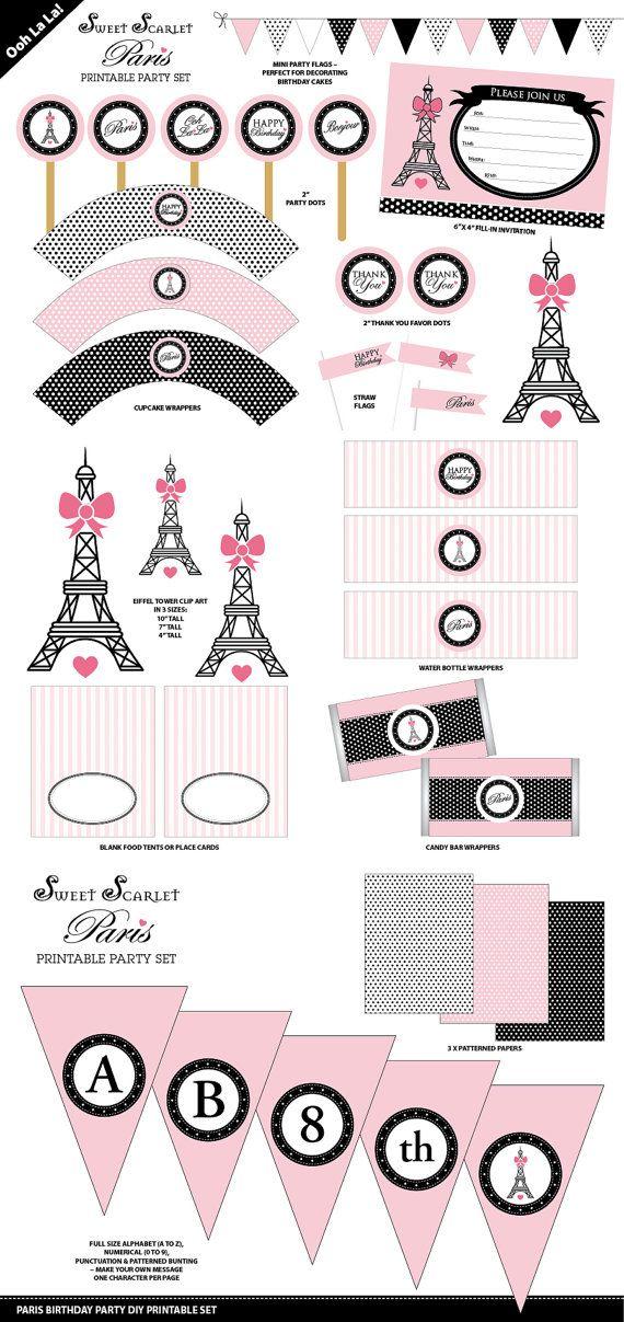 Conjunto París fiesta imprimible por SweetScarletDesigns en Etsy                                                                                                                                                      Más