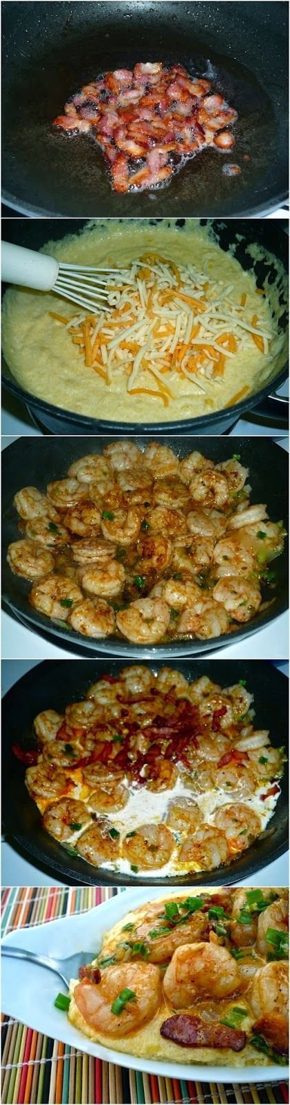 Cheesy Shrimp and Grits. Nom. I mean wow. So good. Did not add heavy cream at end. Didn't need it. Make sure to really pour in the cornmeal slowly otherwise you get some lumps. Delicious. Incredible. Bravo