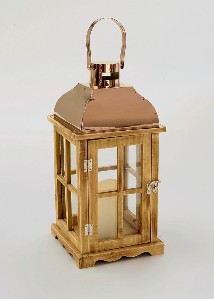 Copper Top LED Lantern (19cm x 19cm x 42cm)