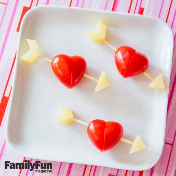 Valentine's Day Snack Ideas for Kids from Family Fun Magazine: Learn how to make Cookie Wands, Shark Valentine's Day Cards with Swedish Fish, and Cupid Kebabs!