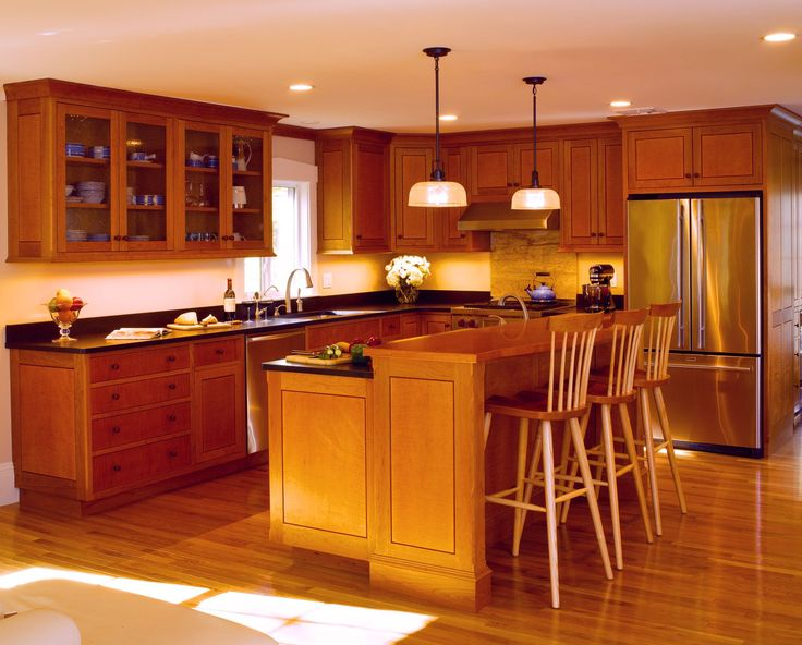 Modern cherry wood maple cabinets with glass panel doors for Cherry kitchen cabinets with glass doors