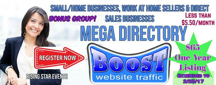 Advertise for less than $5.50 a month! For a WHOLE Year!!  List your biz in the MEGA LIST!  Heavily advertised all year long!  Plus, bonus unlimited postings!!  SEND ME A PRIVATE MESSAGE with what you sell http://m.me/RisingStarsEvents    http://dswahmegadirectory.blogspot.com/2016/12/browse-listings-in-this-directory-to.html