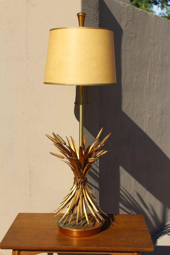 Golden Gilded Marbro Hollywood Regency Wheat Lamp Etsy Lamp Gilded Hollywood Regency