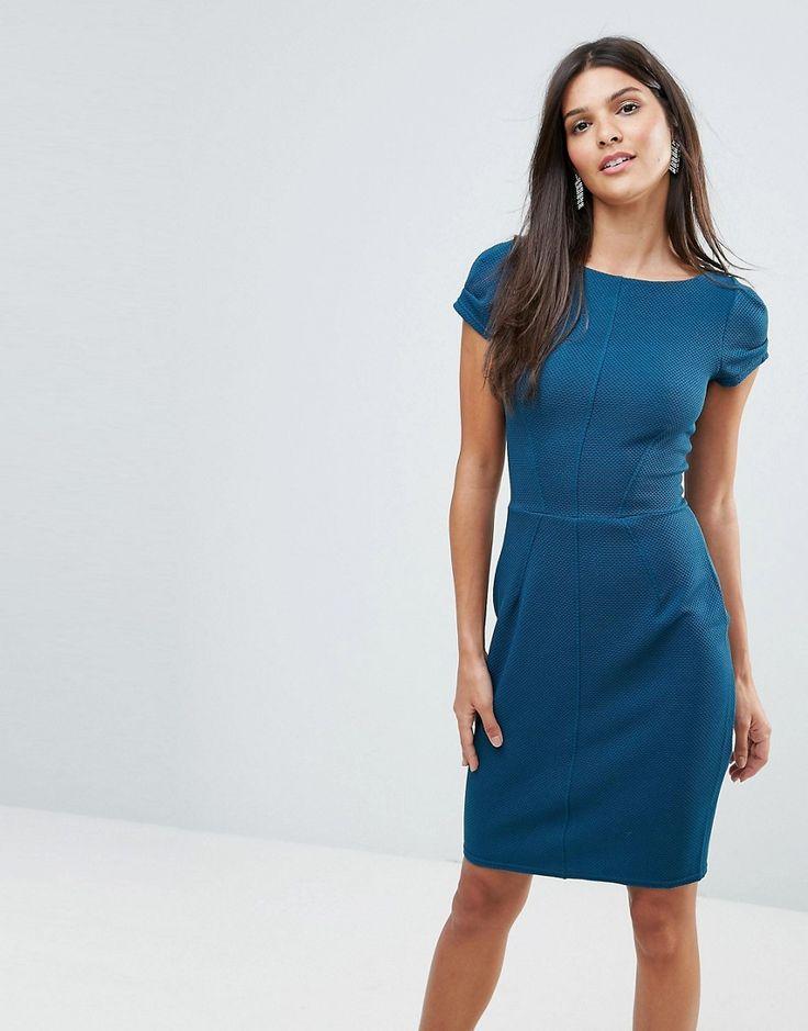 Closet Textured Pencil Dress - Blue