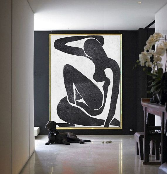 Large Abstract Painting On Canvas, Minimalist Canvas Art, Handmade Black White Acrylic Nude Art Textured Painting.
