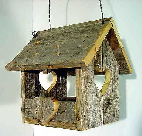 Natural Bird Feeder with Hearts