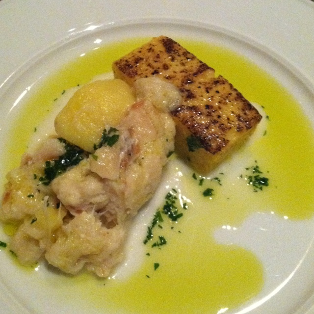 Salted cod with polenta and potato @Frasca Food & Wine.