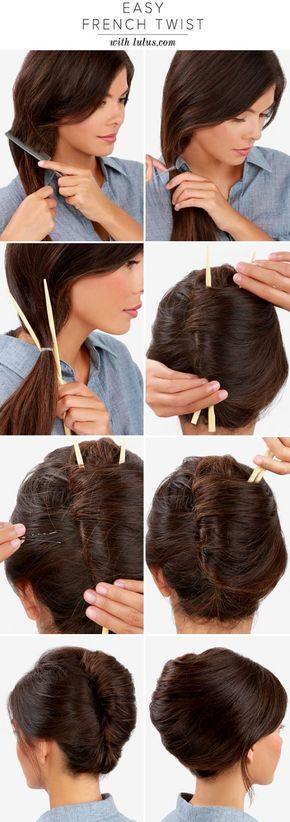Make a French Twist Hairstyle Using Chopsticks #Truco Como hacer un peinado mujer cabello recogido moño clasico estilo Grace Kelly usar Palillos chinos largos #Idea