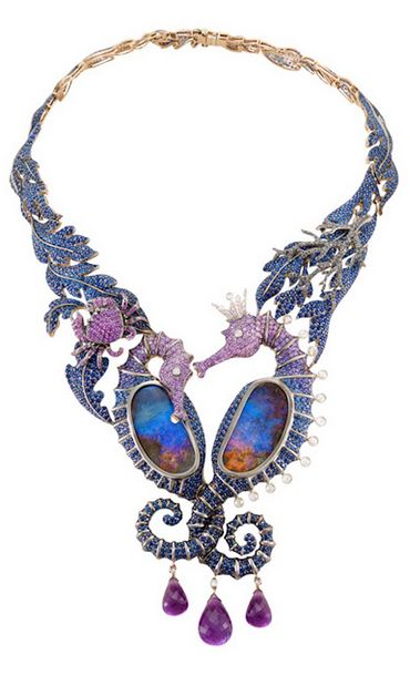 Lydia Courteille Under the Sea necklace with opals, sapphires, amethysts and diamonds.