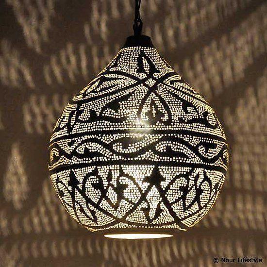 Nour Lifestyle Oosterse hanglamp Haifa - Arabisch patroon - zilver - in maat M/L