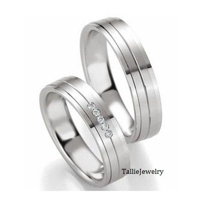 His & Hers Mens Womens Matching 14K White Gold Wedding Bands Rings Set with Diamonds 5mm/5mm Wide Sizes 4-12 Free Engraving New