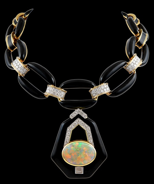David Webb diamond, black enamel & opal necklace / brooch