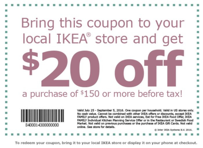 IKEA Coupon: $20 Off $150+